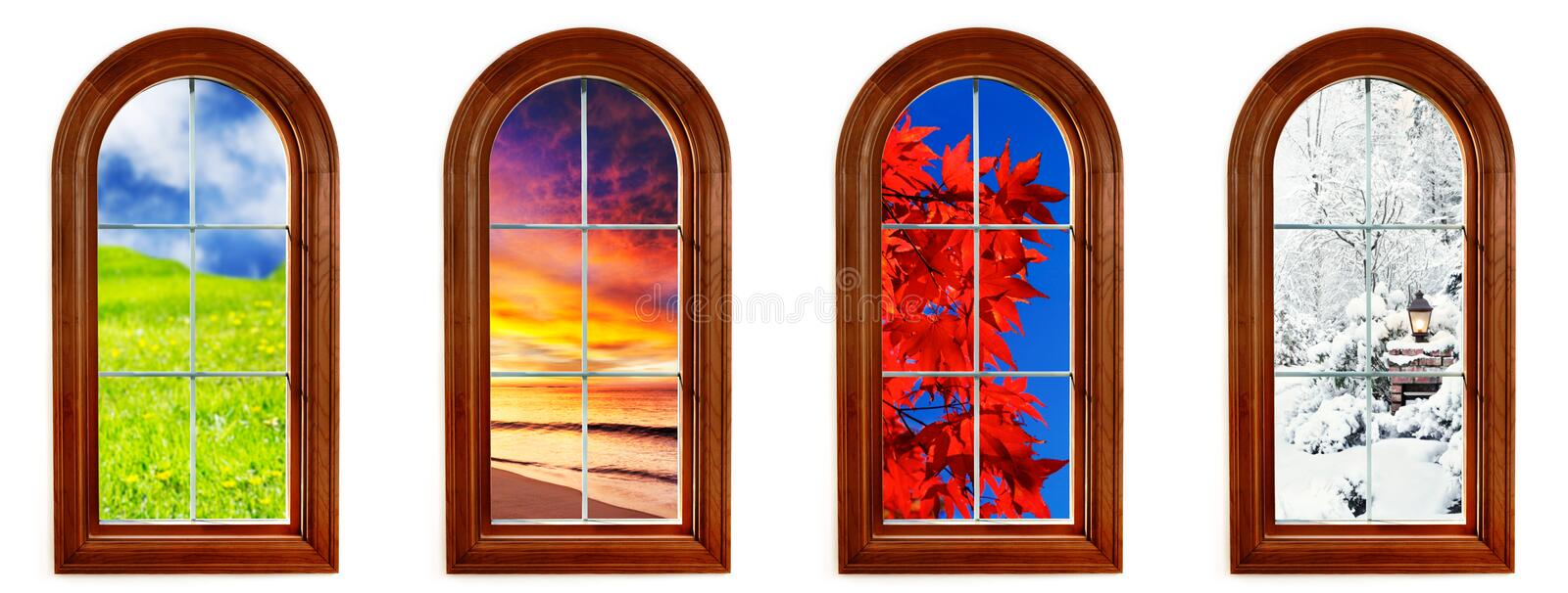 Four seasons. Round top window with views of spring, summer, fall and winter royalty free stock photography