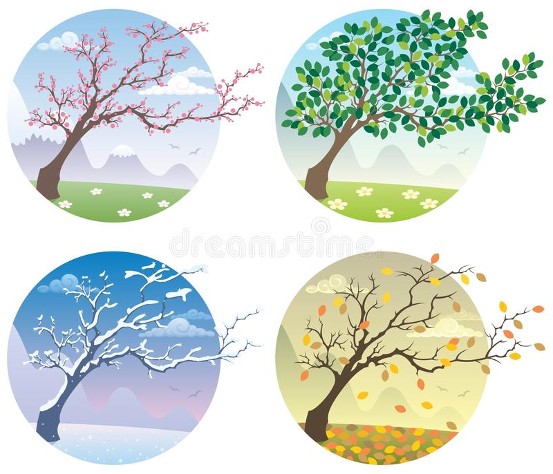 Four Seasons. Cartoon illustration of a tree during the four seasons. No transparency used. Basic (linear) gradients