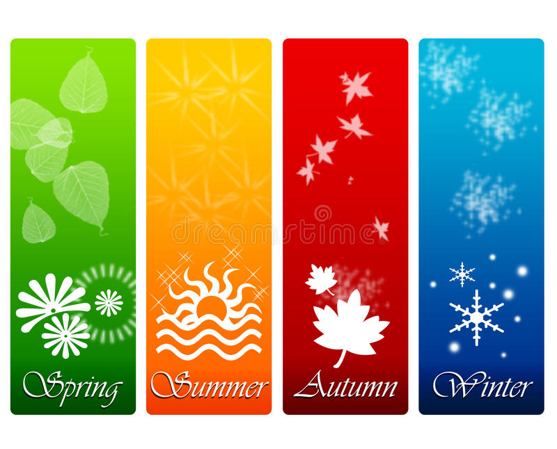The four seasons. Banner design with the four seasons of the year: spring, summer, autumn and winter vector illustration