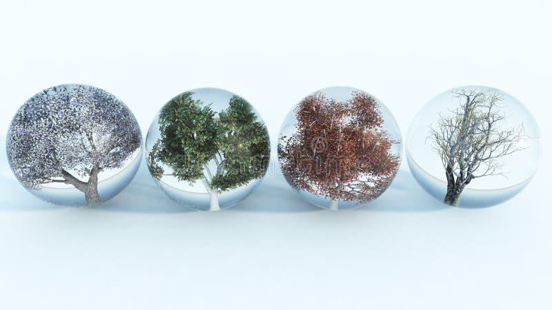 Four Seasons. Trees in spheres representing the four seasons stock illustration