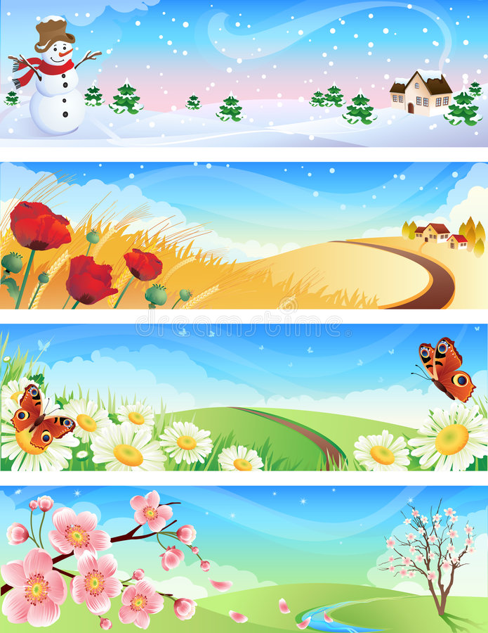 Four seasons. Vector illustration - four seasons landscapes royalty free illustration