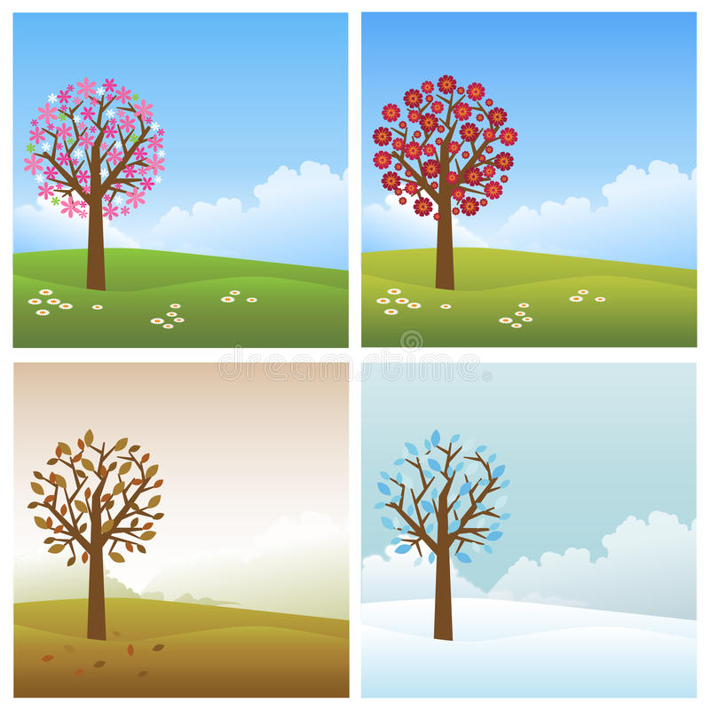 Four seasons backgrounds royalty free stock photos