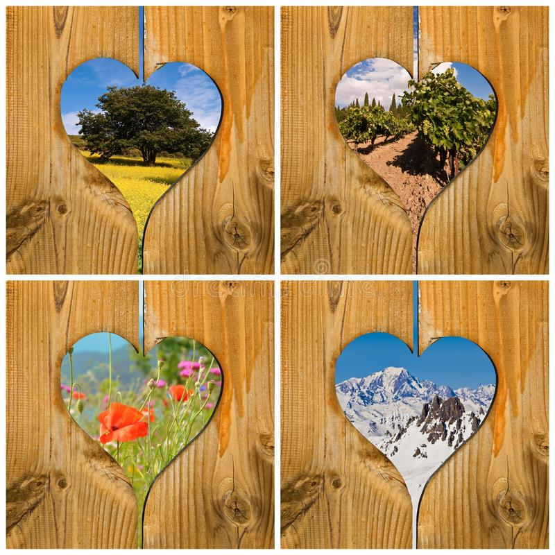 Four seasons collage concept. With wooden hearts stock photo