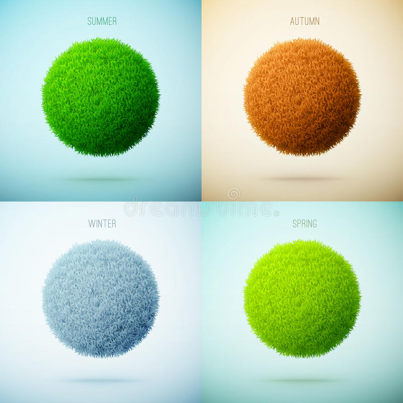 Four seasons collage. Spring, Summer, Autumn, Winter. Grass circle shape. stock illustration