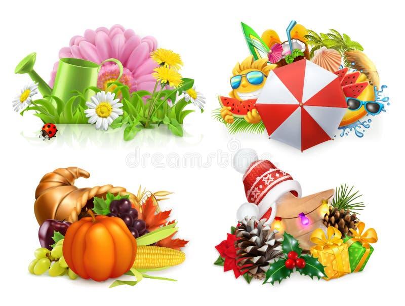 Four seasons concept, 3d vector set. Spring, Summer, Autumn, Winter. Four seasons concept, 3d vector set stock illustration