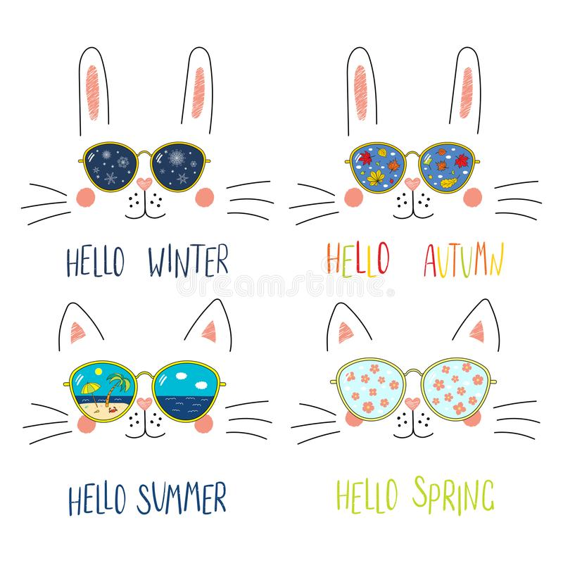 Free Four Seasons Cute Cat, Bunny Faces Set Royalty Free Stock Photos - 121943468