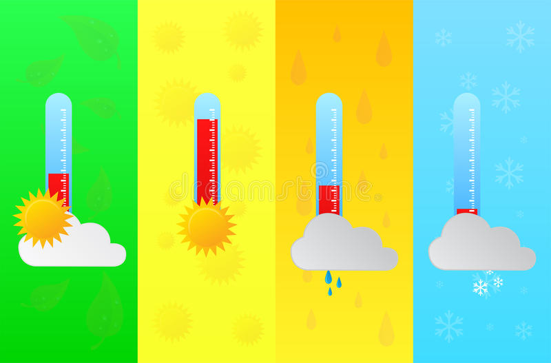 Four Seasons Forecast With Temperature Thermometer royalty free stock image