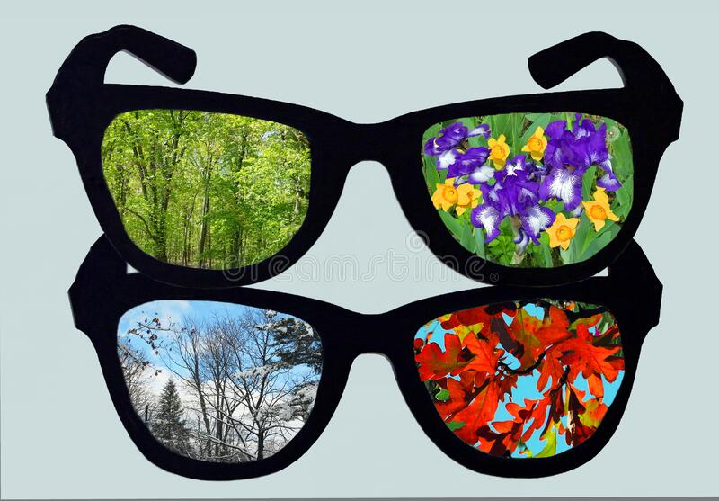 Four Seasons through Glasses stock photos
