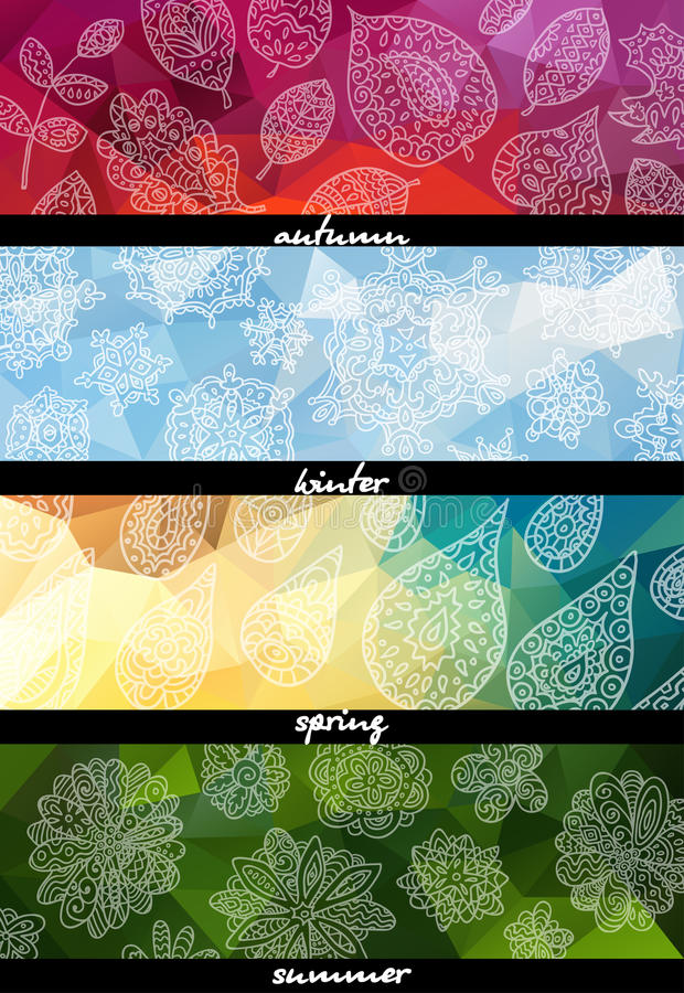 Four seasons horizontal banners. Endless texture can be used for printing onto fabric, paper or scrap booking, wallpaper, pattern fills, web page background royalty free illustration