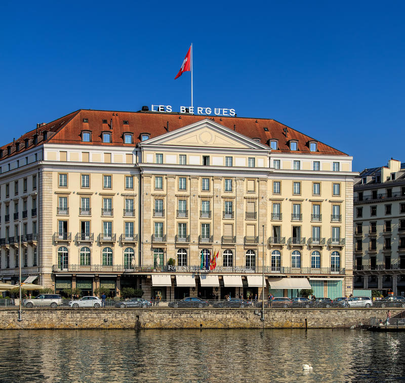 Four Seasons Hotel Les Bergues building in Geneva stock photography