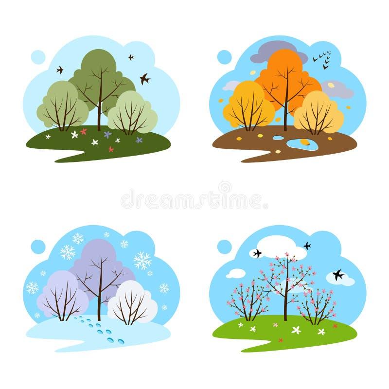 Four seasons. Four illustrations on a white background. stock illustration