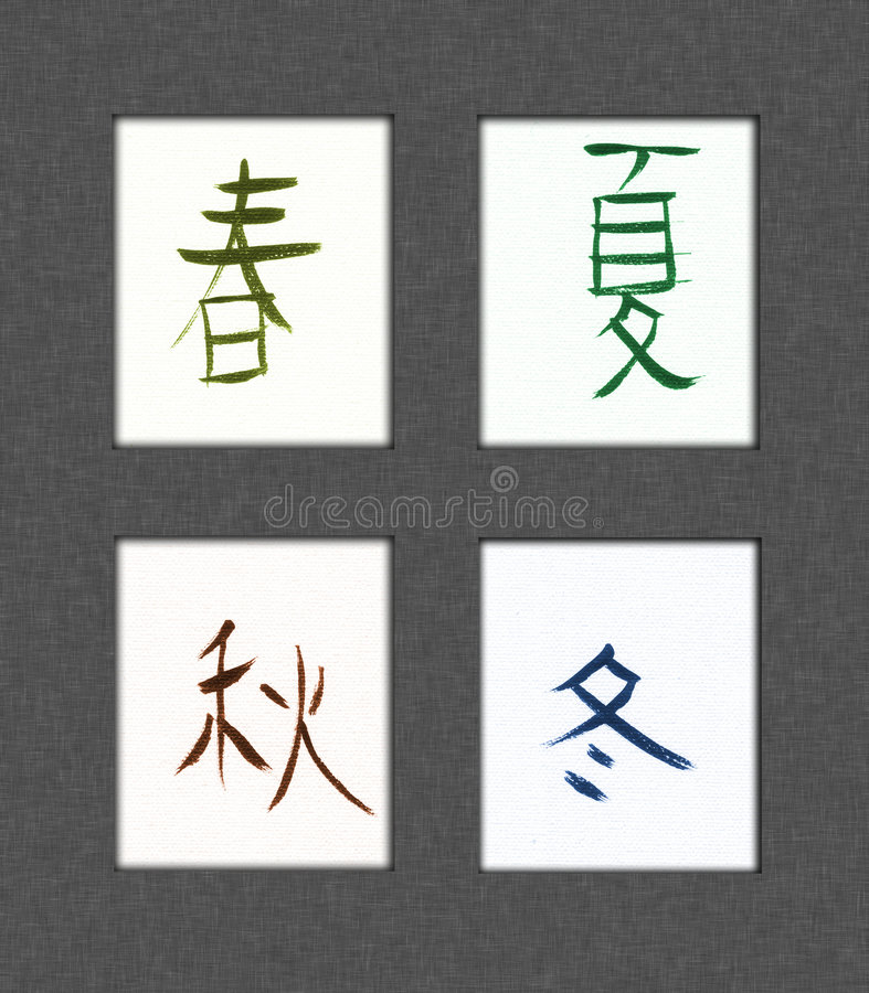 Four Seasons Kanji stock illustration