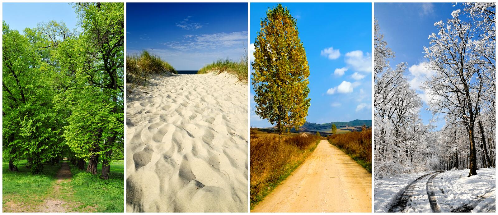 Four seasons landscape. Panorama collage with four seasons landscape and roads stock images