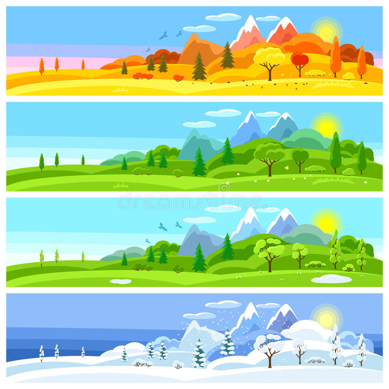 Four seasons landscape. Banners with trees, mountains and hills in winter, spring, summer, autumn. royalty free illustration