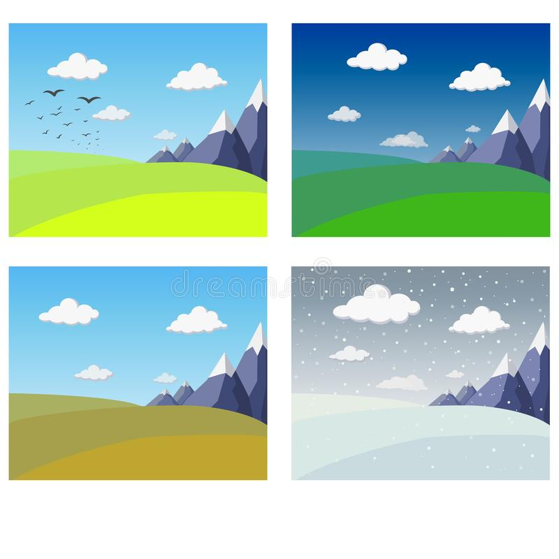 Four seasons landscape collection. Banners with mountains and hills in winter spring summer autumn. vector Illustration of four royalty free stock photo
