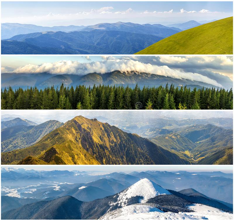 Four seasons mountains collage, several images of beautiful mountain landscapes at different time of the year, autumn, winter, sp. Ring and summer weather royalty free stock photography