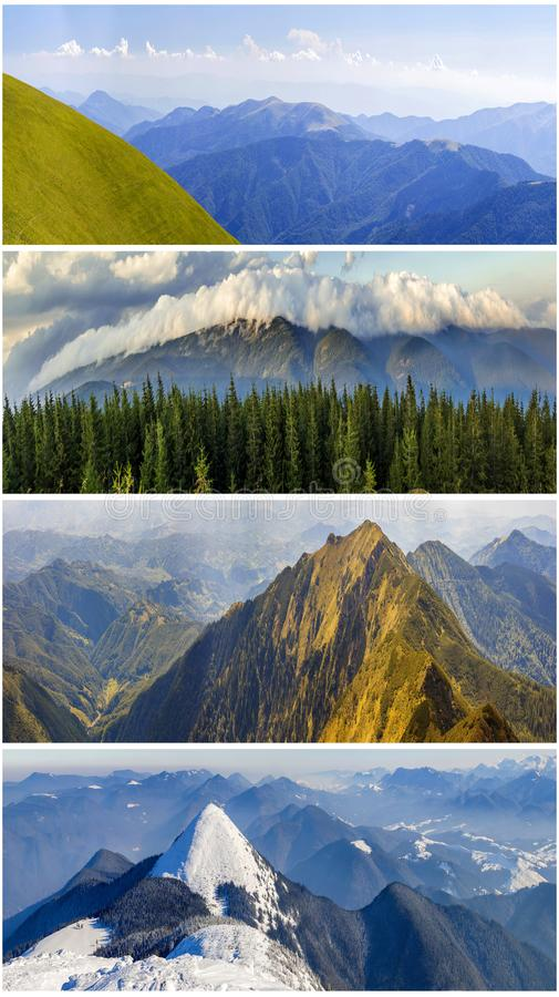 Four seasons mountains collage, several images of beautiful mountain landscapes at different time of the year, autumn, winter,. Spring and summer weather stock photo