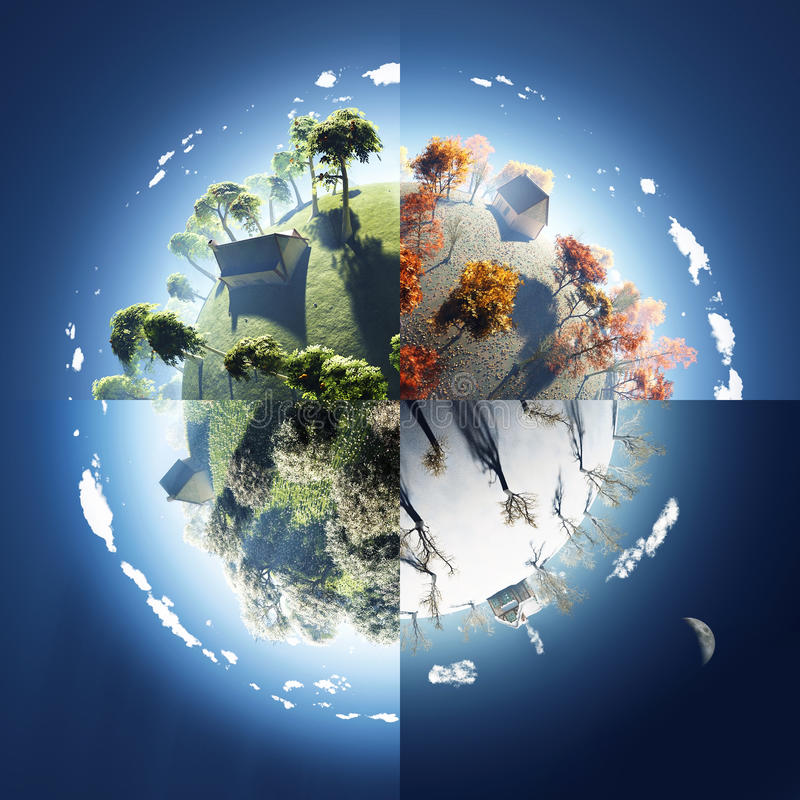 Free Four Seasons On Small Planet Stock Photography - 13084752