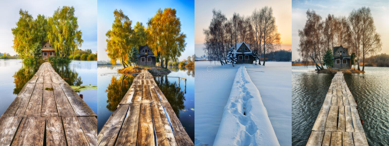 Four seasons. picturesque small house on a small island stock images