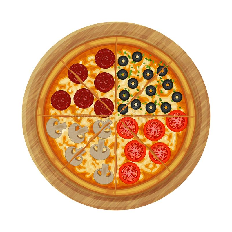 Four seasons pizza with pepperoni, olives, mushrooms, tomato on wood board. royalty free illustration