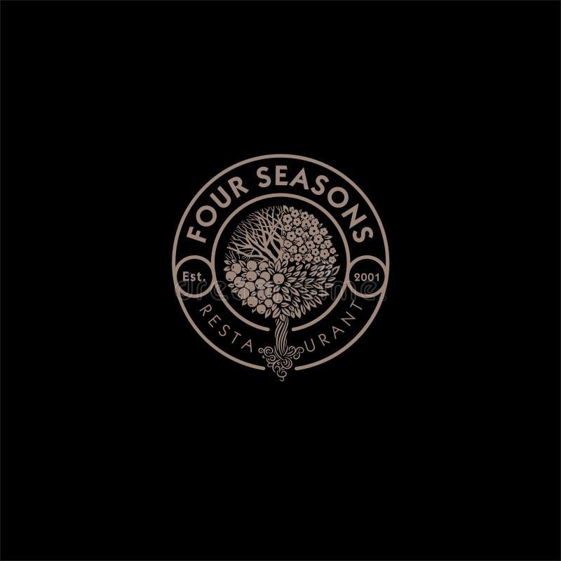 Four Seasons restaurant logo. Restaurant or hotel emblem. Wood as the seasons in a circle. stock illustration