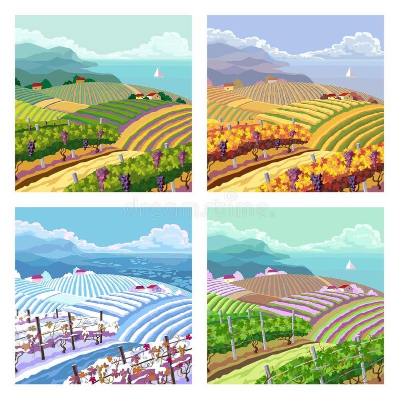 Four seasons. Rural landscapes. vector illustration