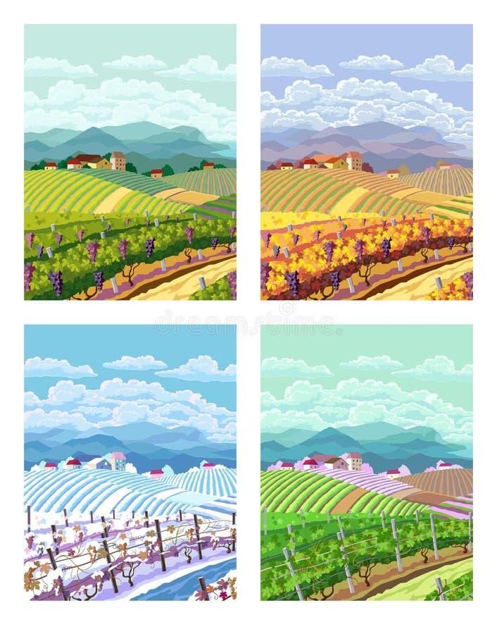 Four seasons. Rural landscapes. stock illustration