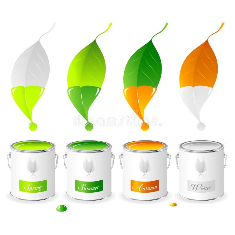 Download Four Seasons - Set 01 - Paint Tins Stock Vector - Image: 14901184