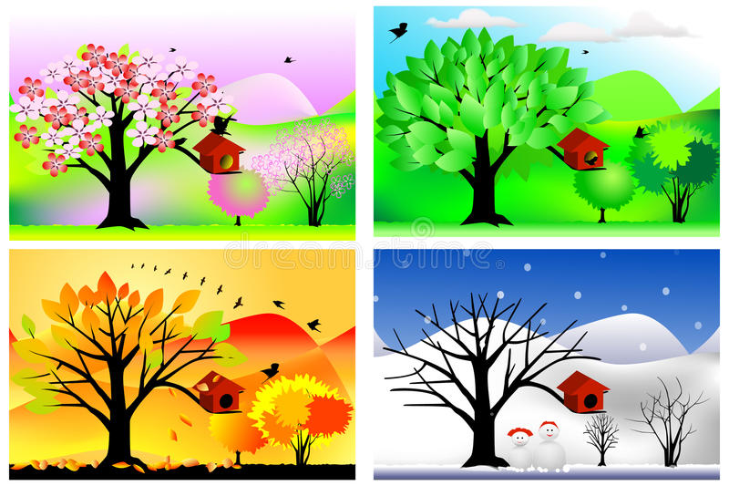 Download Four seasons stock vector. Image of autumn, floral, background - 40634022
