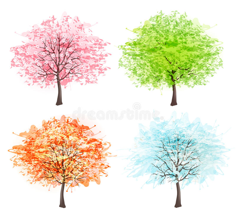 Four seasons - spring, summer, autumn, winter. stock illustration