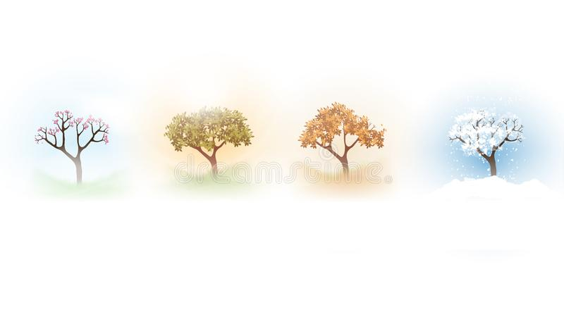 Four Seasons Spring, Summer, Autumn, Winter Banners with Abstract Trees - Vector Illustration. royalty free illustration