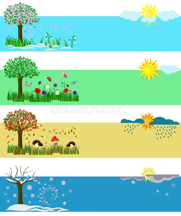 Four seasons. Spring, Summer, Fall, Winter. Set of vector illustrations for calendars and postcards with elements. stock illustration