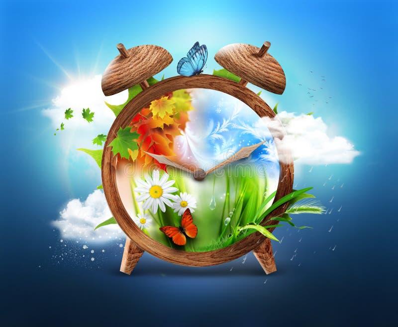Four Seasons. Time concept design stock illustration