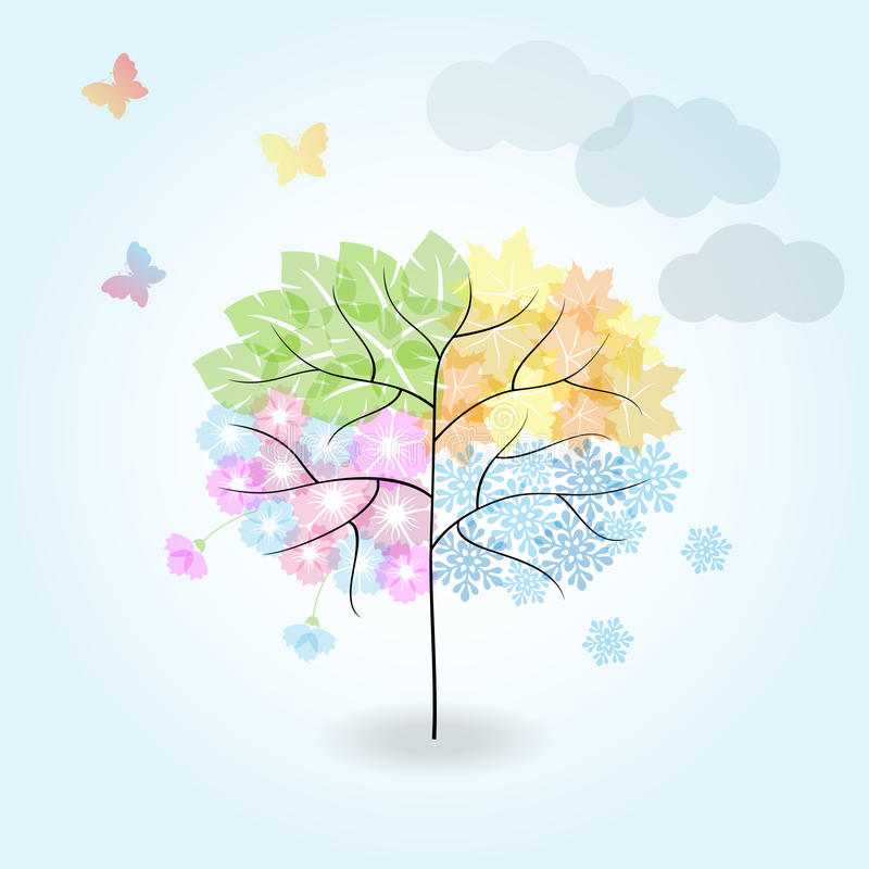 Four Seasons Tree: spring, summer, autumn, winter. royalty free illustration