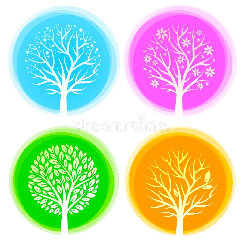 Four seasons trees vector illustration