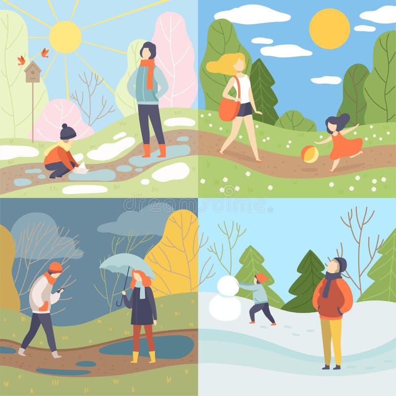 Four Seasons uppsättning, vinter, vår, sommar och höst, folk som tycker om olikt väder i naturvektorillustration vektor illustrationer