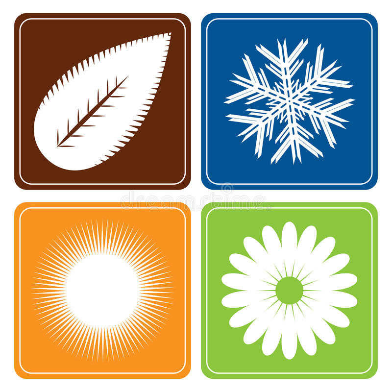 Four seasons - vector. Vector illustration of four seasons symbols isolated on white background.Useful also as icons or button.EPS file available vector illustration
