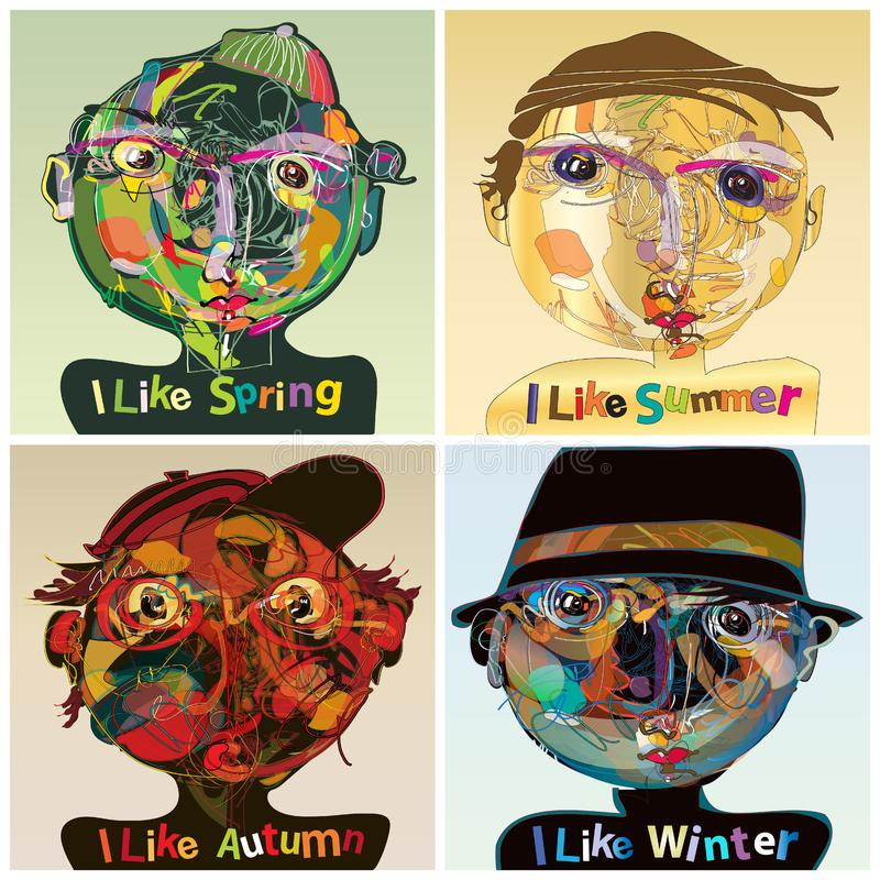 Four seasons. Vector set of four seasons, presentation of the seasons with different human face characters, the illustration represents an avantgarde painting royalty free illustration