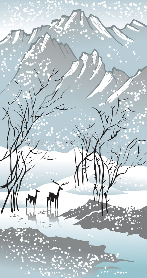 Four seasons: winter vector illustration