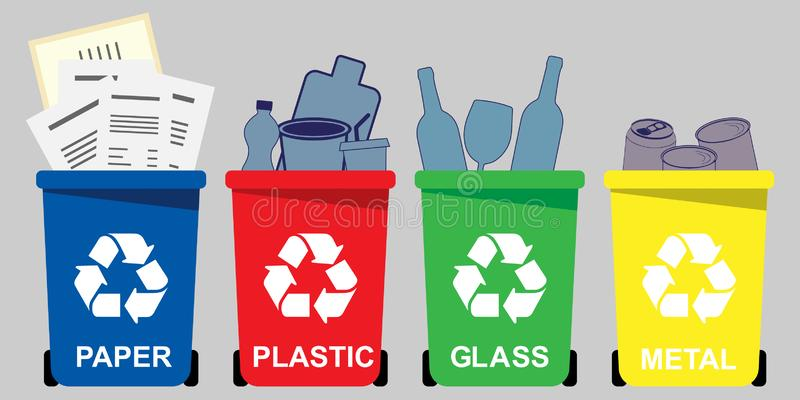 Four selective waste bins. Of different colors for paper, plastic, glass, metal vector illustration