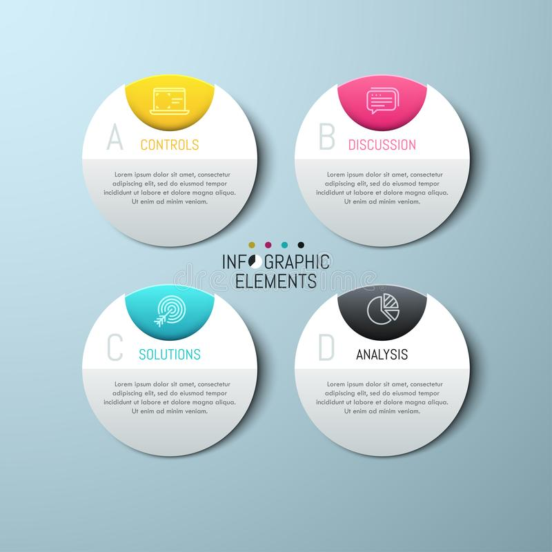 Four separate round paper white elements. With letters, icons and text boxes. Modern infographic design template. 4 business project options concept. Vector royalty free illustration