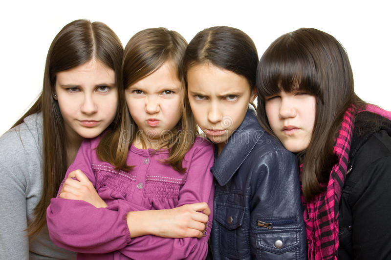 Download Four serious girl stock photo. Image of portrait, serious - 12686588