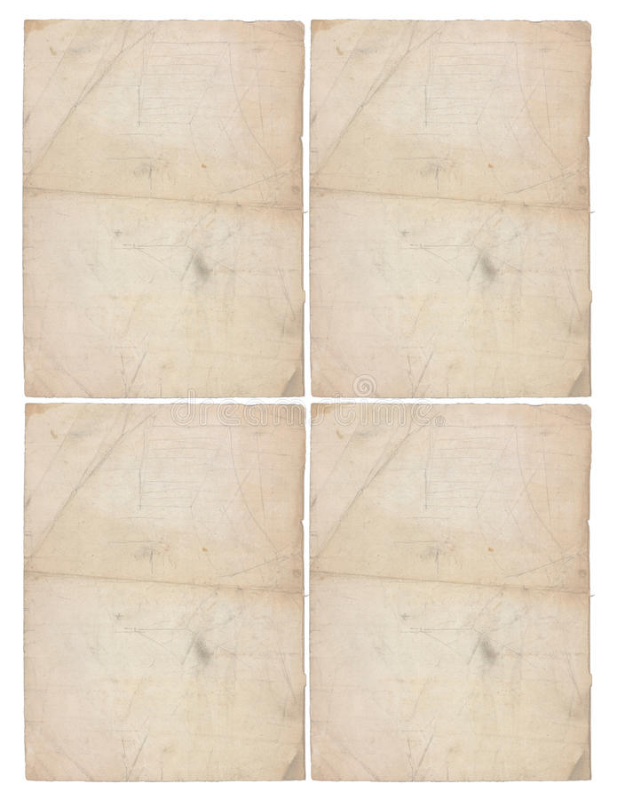 Four sheets of aged paper royalty free stock photography