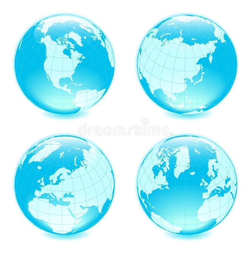 Four side shiny globes royalty free illustration