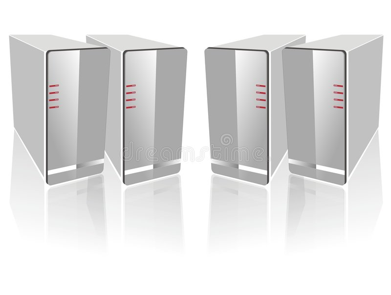 Four side by side white server