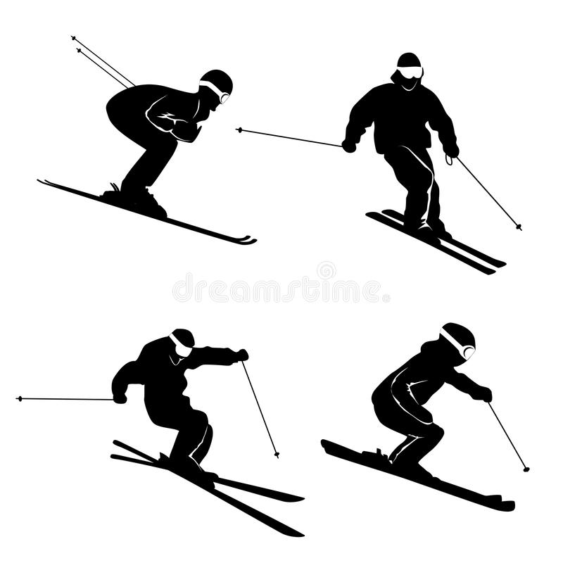 Four silhouettes of skiing persons vector illustration