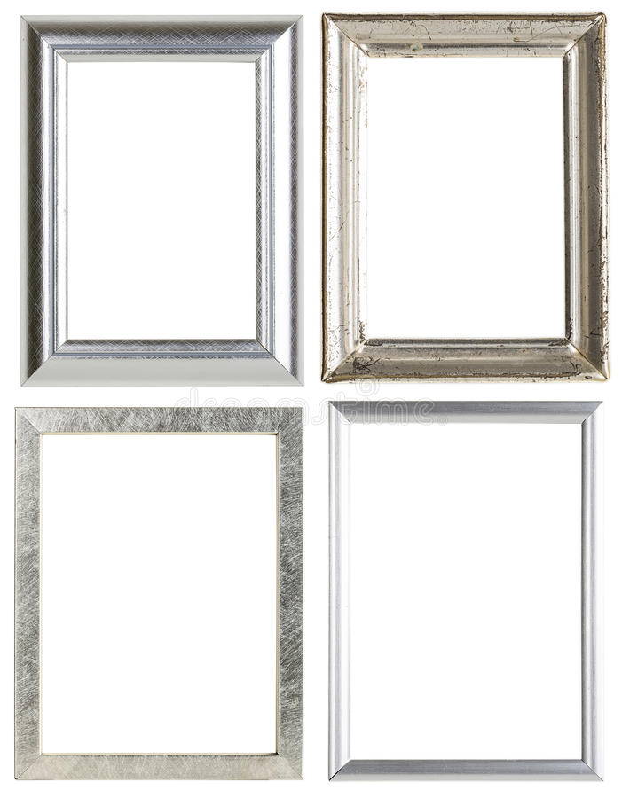 Four silver picture frames stock images