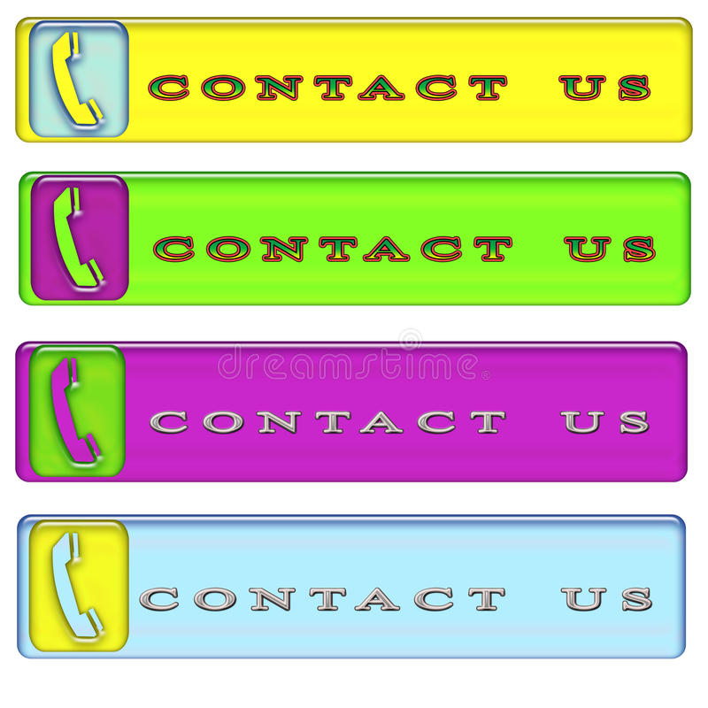 Four simple rectangular contact us button royalty free stock photos