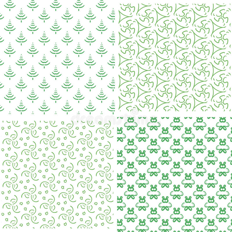 Four simple seamless green pattern stock photography