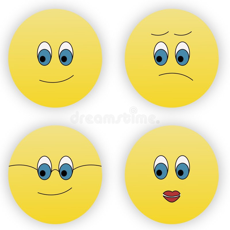 Download Four smileys stock illustration. Image of happiness, face - 4365770